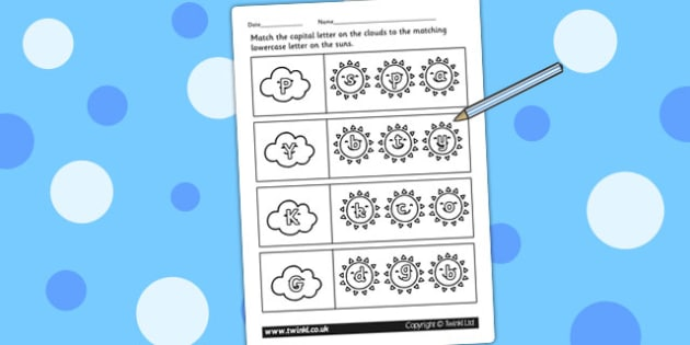 Weather Themed Capital Letter Matching Worksheet - uppercase
