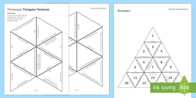 Microscopes Triangular Dominoes - Tarsia, Dominoes, Microscopes, Magnification, Samples, Slides, Microorganisms, plenary activity