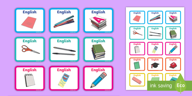 Magazine File English Labels -  File, Labels, Stickers, English, Subject, Books