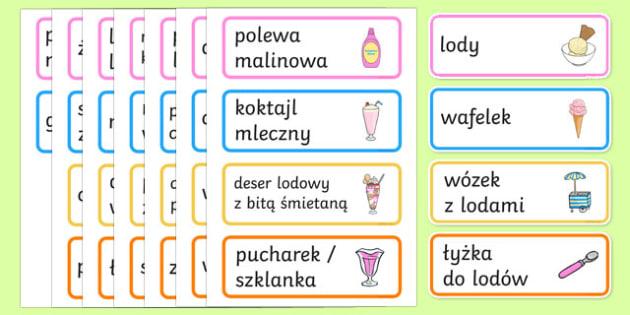 Karty ze słownictwem Lodziarnia po polsku