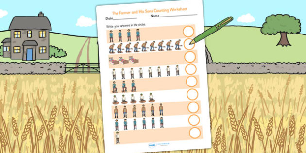 The Farmer and His Sons Counting Sheet - count, counting aid