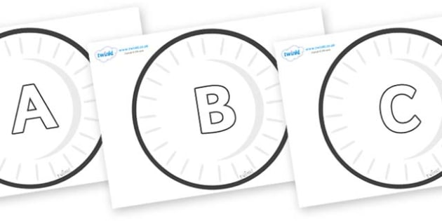 A-Z Alphabet on Circles (Plain) - A-Z, A4, display, Alphabet frieze, Display letters, Letter posters, A-Z letters, Alphabet flashcards
