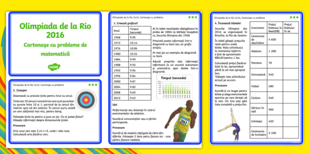 Olimpiada de la Rio 2016 - Cartonașe cu probleme - Olimpiada de la Rio 2016, Cartonașe cu probleme - jocuri olimpice, matematica, exerciții, olimpiadă, spor, matematica, educație fizică, materiale, materiale didactice, română, romana, material, mater