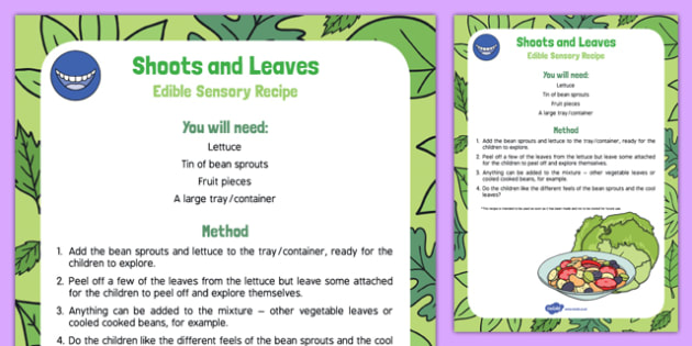Shoots and Leaves Edible Sensory Recipe - beansprouts, lettuce, baby sensory, plants, growth