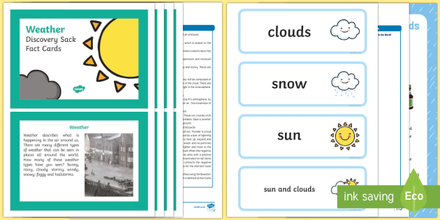 Weather Discovery Sack - EYFS, Early Years, KS1, seasons, sun, rain, snow, weather, discovery sack, discovery, sack