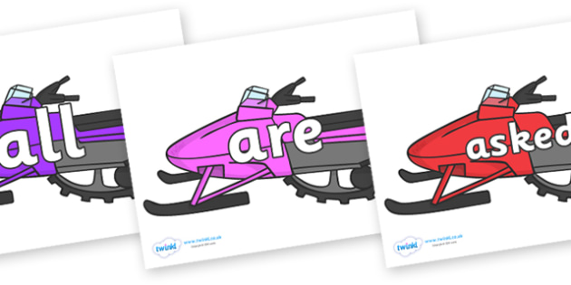 Tricky Words on Snowmobiles - Tricky words, DfES Letters and Sounds, Letters and sounds, display, words