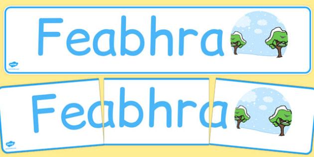 Feabhra Display Banner Gaeilge - gaeilge, february, display banner, display, banner, months of the year