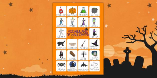 Vocabulario de Halloween Póster DIN A4