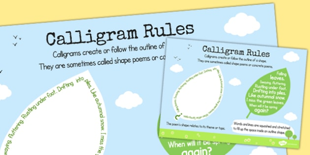 Recognise Some Different Forms of Poetry Calligrams Rules Poster
