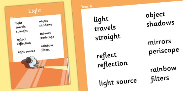 Year 6 Light Scientific Vocabulary Poster - posters, science