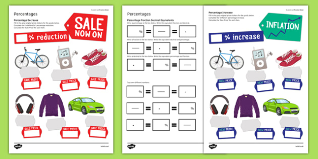 KS3_KS4 Maths Student Led Practice Sheets Percentages - maths, KS3, KS4, GCSE, worksheet, practise, independent, growth mindset, percentages, increase, decrease, money, inflation, equivalent decimals, equivalent fractions