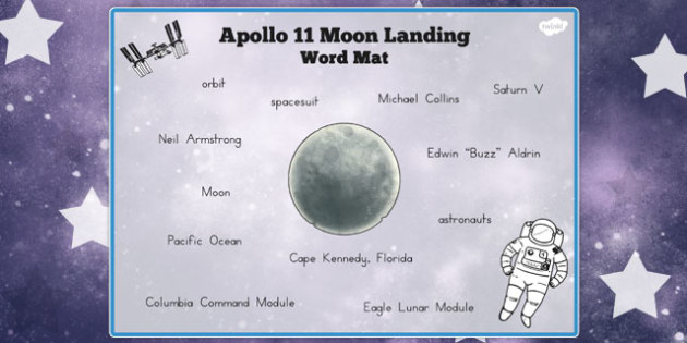 Apollo 11 Moon Landing Word Mat - australia, apollo 11, moon landing