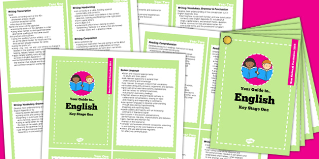 2014 Curriculum Cards KS1 English - new curriculum, literacy