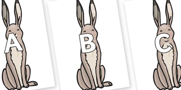 A-Z Alphabet on Hare - A-Z, A4, display, Alphabet frieze, Display letters, Letter posters, A-Z letters, Alphabet flashcards