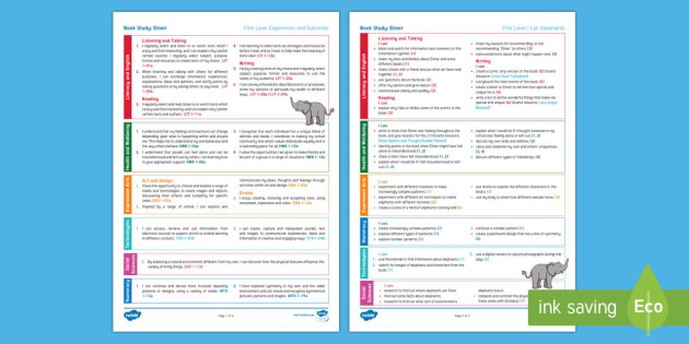 Elmer First Level Cross-Curricular Book Study-Scottish - iDL, interdisciplinary, planning, plan, planner, overview, reading,Scottish