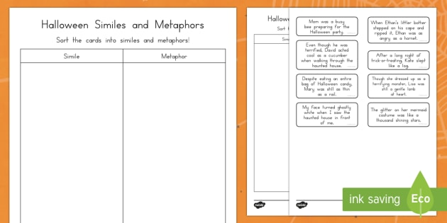Halloween Simile and Metaphor Matching Cards