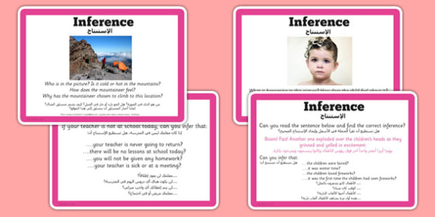 Guided Reading Skills Task Cards Inference Arabic Translation - challenge cards, reading, true, false