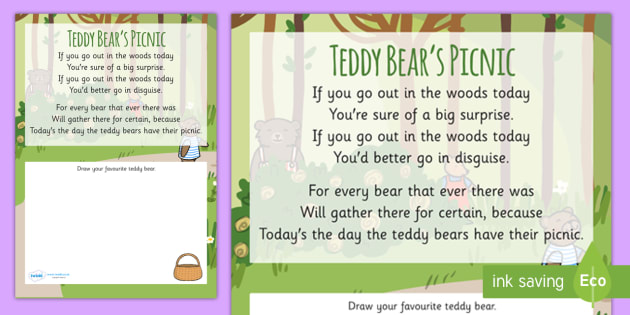 Teddy Bear's Picnic Rhyme Worksheet - teddy bears picnic, rhyme