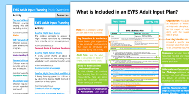 EYFS Bonfire Night Themed Adult Input Planning Pack Overview - eyfs, bonfire night, adult input, overview
