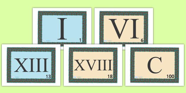 Roman Numeral Visual Aids - Romans, Rome, Roman Empire, visual aid, aids,  Display numbers, 0-10, roman numerals, numbers, display numerals, display lettering, display numbers, display, cut out lettering, lettering for display, display numbers, colos