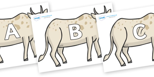 A-Z Alphabet on African Ox - A-Z, A4, display, Alphabet frieze, Display letters, Letter posters, A-Z letters, Alphabet flashcards