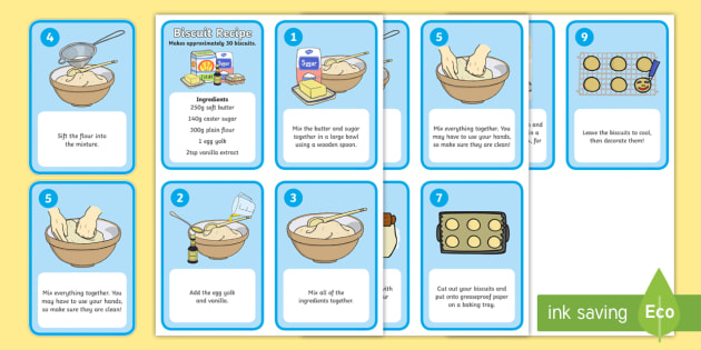 Biscuit Recipe Cards - education, home school, free, fun, baking