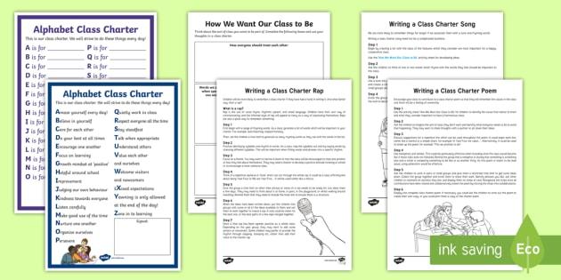 KS2 Writing Our Own Class Charter Resource Pack - rules, behaviour, class poem, class rap, class song,