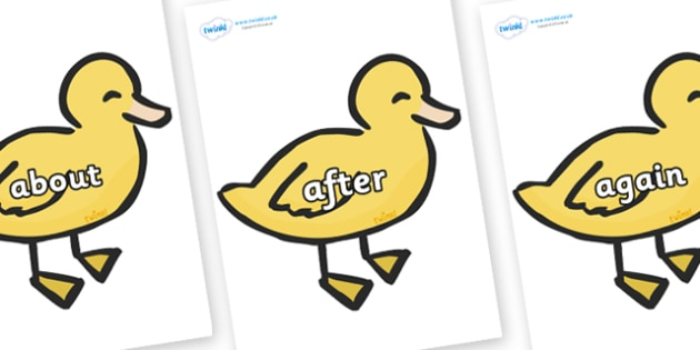 KS1 Keywords on Ducklings - KS1, CLL, Communication language and literacy, Display, Key words, high frequency words, foundation stage literacy, DfES Letters and Sounds, Letters and Sounds, spelling
