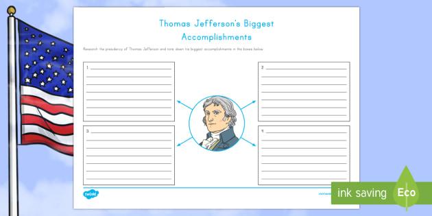 Thomas Jefferson's Biggest Accomplishments Writing Activity Sheet - American Presidents, American History, Social Studies, Thomas Jefferson, accomplishments,