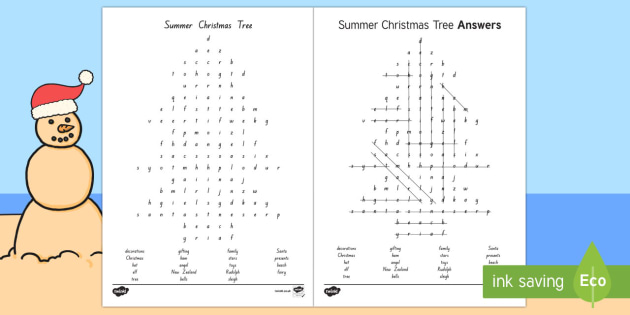 New Zealand Christmas Tree Word Search
