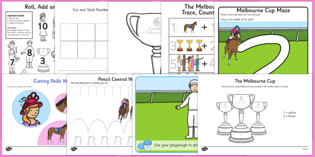 The Melbourne Cup Fine Motor Skills Pack - australia, melbourne cup, fine motor skills, pack