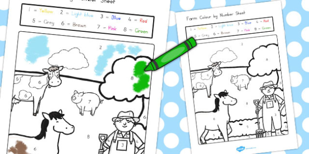 Farm Colour by Numbers - Farm, Colour, Colouring, Numbers, Art
