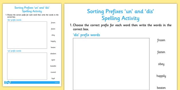 Sorting Prefixes 'un' And 'dis' Activity - activities, sort, prefix