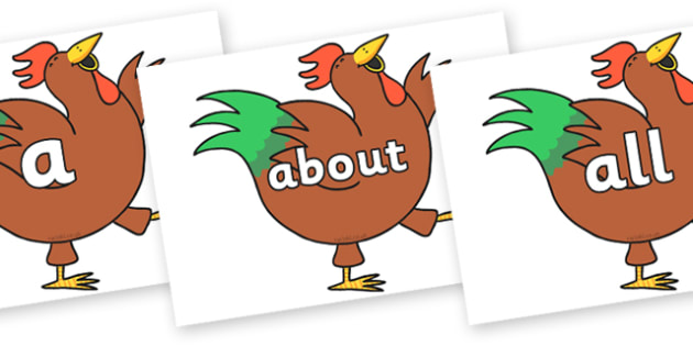 100 High Frequency Words on Hullabaloo Rooster to Support Teaching on Farmyard Hullabaloo - High frequency words, hfw, DfES Letters and Sounds, Letters and Sounds, display words