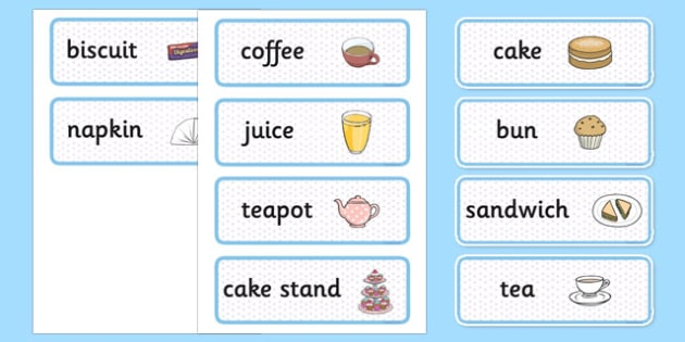 Afternoon Tea Role Play Labels - afternoon tea, role play, labels