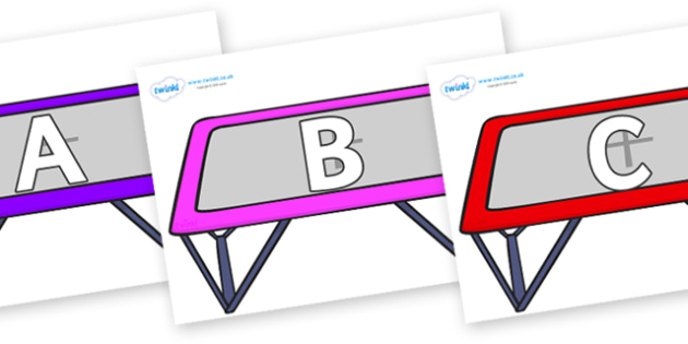 A-Z Alphabet on Trampolines - A-Z, A4, display, Alphabet frieze, Display letters, Letter posters, A-Z letters, Alphabet flashcards