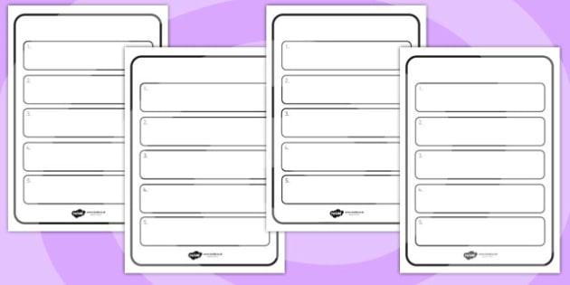 Editable Instruction Writing Frames - instruction, writing, order