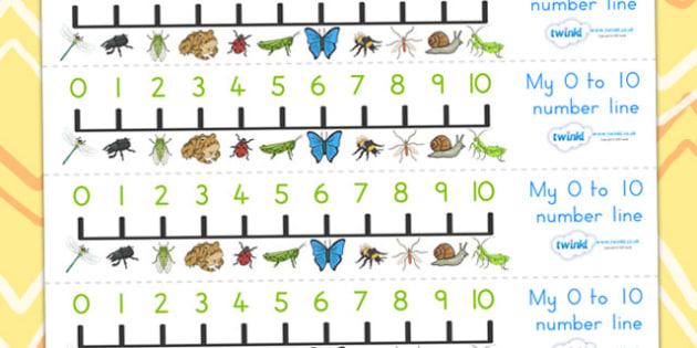 Minibeasts Number Line 0 10 - count, counting, counting aid