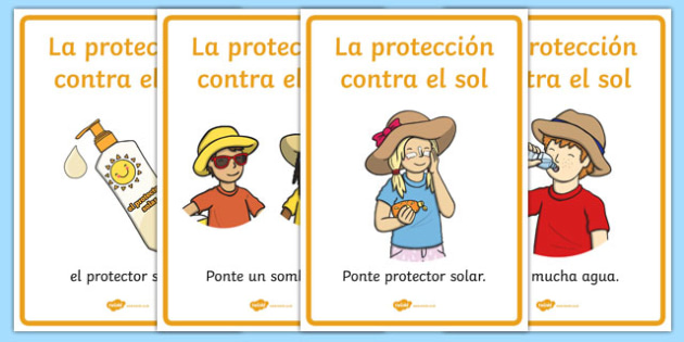 Sun Safety Posters Spanish - spanish, Sun safety, Sun, Summer, sunburn, Display Words, display, summer, fun in the Sun, Sun danger, sun hat , sunglasses