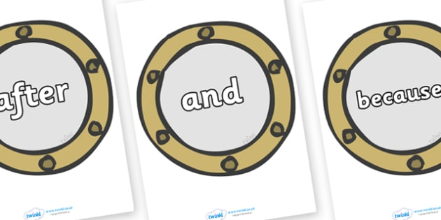 Connectives on Portholes - Connectives, VCOP, connective resources, connectives display words, connective displays