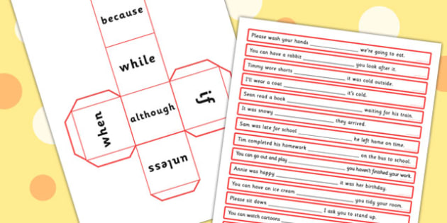 Roll A Conjunction Sentence Activity With Because While If When