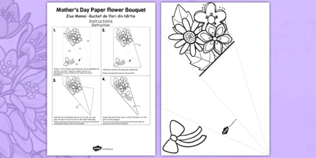 Mother's Day Paper Flower Bouquet Romanian Translation - romanian, bouquet, mothers day, paper