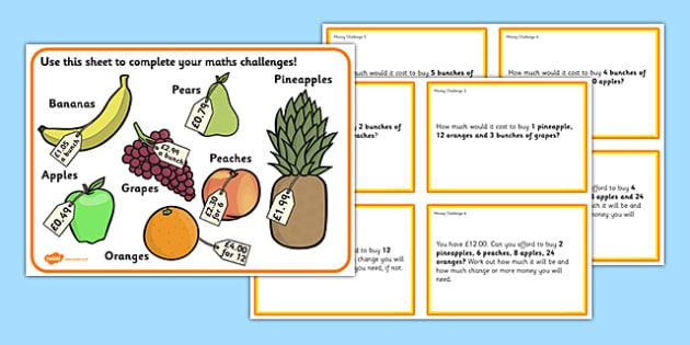 Maths Money Problems Challenge Cards - money challenge cards, working with money, coins and money, prices challenge cards, money challenges, ks2 maths
