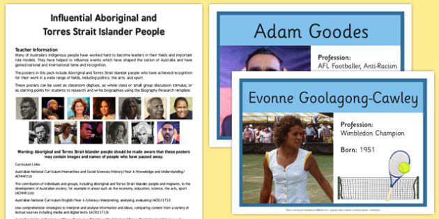 Influential Aboriginal and Torres Strait Islander People Poster Pack - influential, aboriginal, torres strait islander