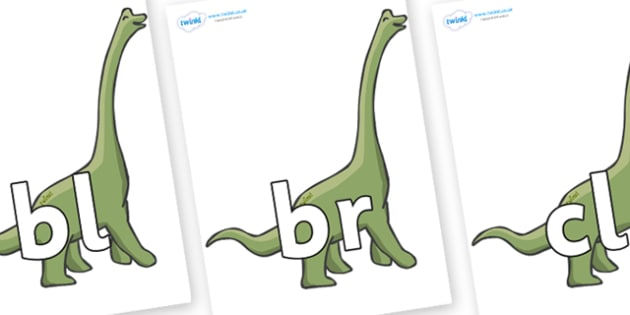 Initial Letter Blends on Brachiosaurus - Initial Letters, initial letter, letter blend, letter blends, consonant, consonants, digraph, trigraph, literacy, alphabet, letters, foundation stage literacy