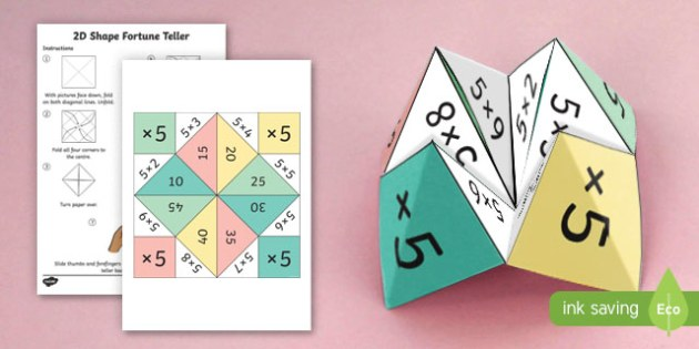 5 Times Table Fortune Teller - 5 times table, times table, times tables, fortune teller, activity, craft, fold