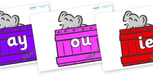 Phase 5 Phonemes on Elephants (Crates) to Support Teaching on Dear Zoo - Phonemes, phoneme, Phase 5, Phase five, Foundation, Literacy, Letters and Sounds, DfES, display
