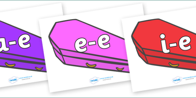 Modifying E Letters on Coffins (Multicolour) - Modifying E, letters, modify, Phase 5, Phase five, alternative spellings for phonemes, DfES letters and Sounds