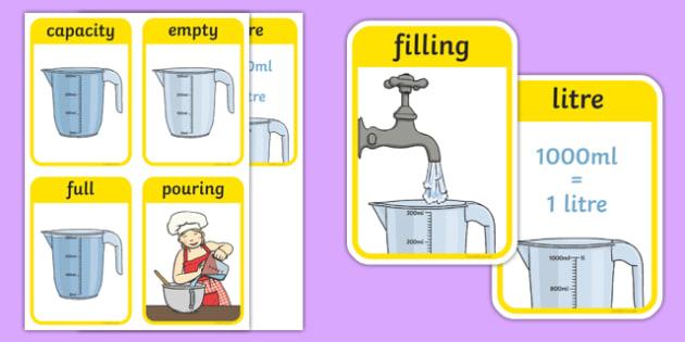 CfE Early Level Numeracy and Mathematics Measurement (Capacity and Volume) Keyword Flashcards-Scottish