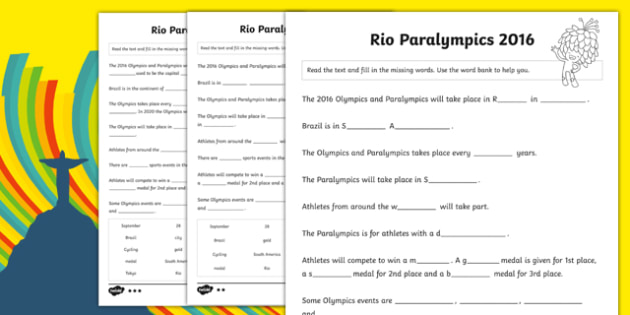Rio Paralympics 2016 SEN Cloze Differentiated Activity Sheet Pack, worksheet